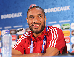 BORDEAUX, FRANCE - Friday, June 10, 2016: Wales' captain Ashley Williams during a press conference at the Stade de Bordeaux ahead of their opening game of the UEFA Euro 2016 Championship against Slovakia. (Pic by UEFA Handout/Propaganda)