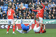 defensive header from Walsall FC striker Tom Bradshaw during the The FA Cup fourth round match between Reading and Walsall at the Madejski Stadium, Reading, England on 30 January 2016. Photo by Mark Davies.