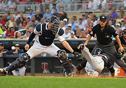 May 31, 2018 - Minneapolis, MN, U.S. - MINNEAPOLIS, MN - MAY 31: Cleveland Indians Designated hitter Edwin Encarnacion (10) is safe at home as Minnesota Twins Catcher Mitch Garver (23) mishandles the throw during a MLB game between the Minnesota Twins and Cleveland Indians on May 31, 2018 at Target Field in Minneapolis, MN. The Indians defeated the Twins 9-8.(Photo by Nick Wosika/Icon Sportswire) (Credit Image: © Nick Wosika/Icon SMI via ZUMA Press)