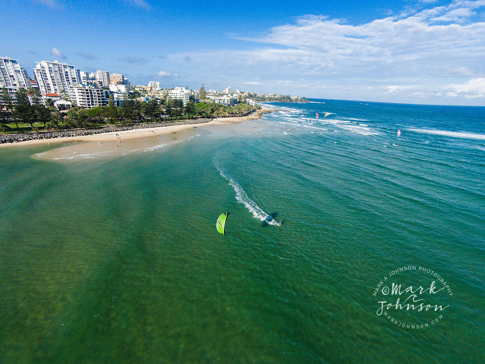Aerial photograph of kitesurfing off Happy Valley, Pumicestone Passage, Caloundra, Sunshine Coast, Queensland, Australia