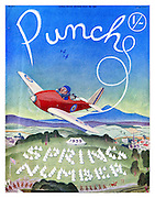 Punch Spring Number 1939 front cover. (Mr Punch accompanied by dog Toby flying an RAF plane above an army camp)