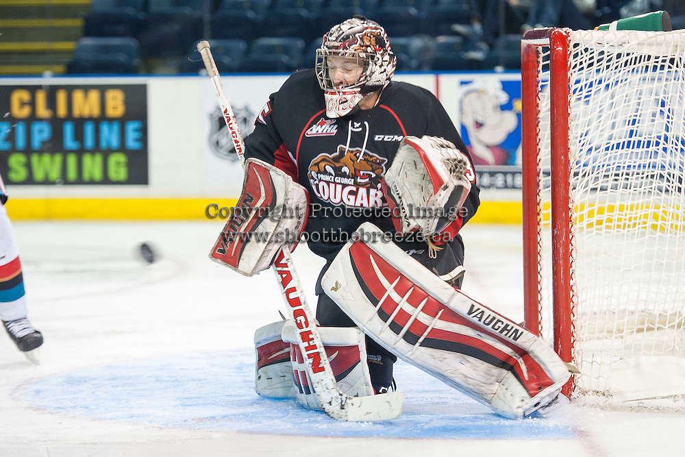 KELOWNA, CANADA - SEPTEMBER 5: Ty Edmonds #35 of Prince George Cougars makes a save against the Kelowna Rockets  on September 5, 2015 during the first pre-season game at Prospera Place in Kelowna, British Columbia, Canada.  (Photo by Marissa Baecker/Shoot the Breeze)  *** Local Caption *** Ty Edmonds;