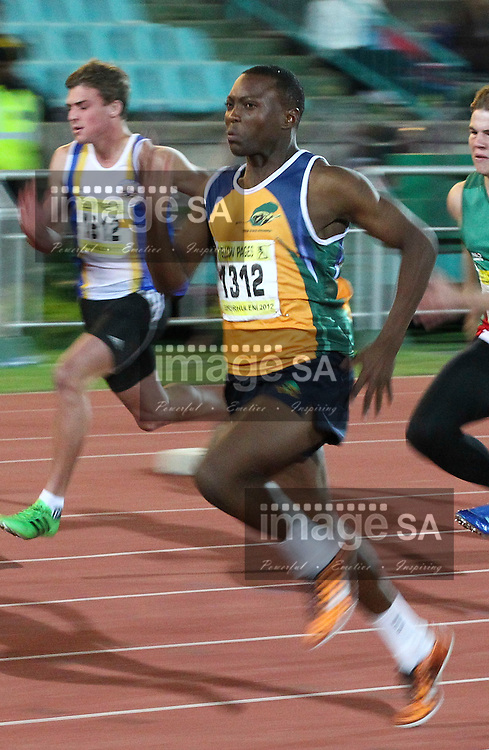 GERMISTON, SOUTH AFRICA, Friday 29 March 2012, Fana Mofokeng in the 100m during the Yellow Pages South African Junior and Schools Athletic Championships at the Germiston Stadium..Photo by Roger Sedres/Image SA