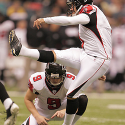 2008 December, 07: Atlanta Falcons PK Jason Elam (1) watches after kicking a field goal during a 29-26 victory by the New Orleans Saints over NFC South divisional rivals the Atlanta Falcons at the Louisiana Superdome in New Orleans, LA.
