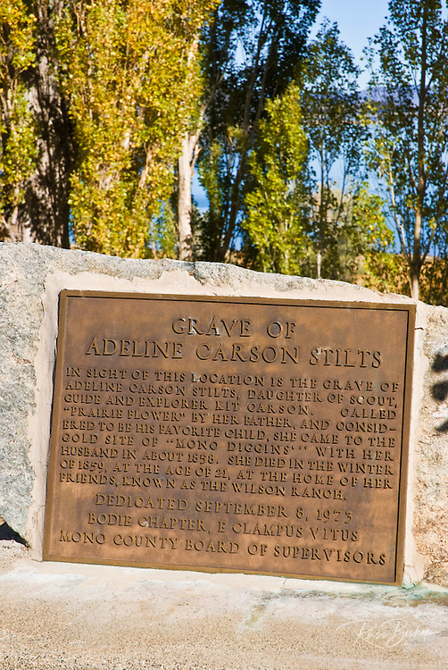 Historic plaque at the grave of Adeline Carson Stilts (Kit Carson's daughter), Mono Basin National Scenic Area, California