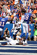 Buffalo Bills rookie wide receiver Zay Jones (11) raises his arms to signal touchdown as Buffalo Bills wide receiver Andre Holmes (18) catches a tipped pass in the end zone for a second quarter score and a 7-3 Bills lead during the 2017 NFL week 3 regular season football game against the against the Denver Broncos, Sunday, Sept. 24, 2017 in Orchard Park, N.Y. The Bills won the game 26-16. (©Paul Anthony Spinelli)