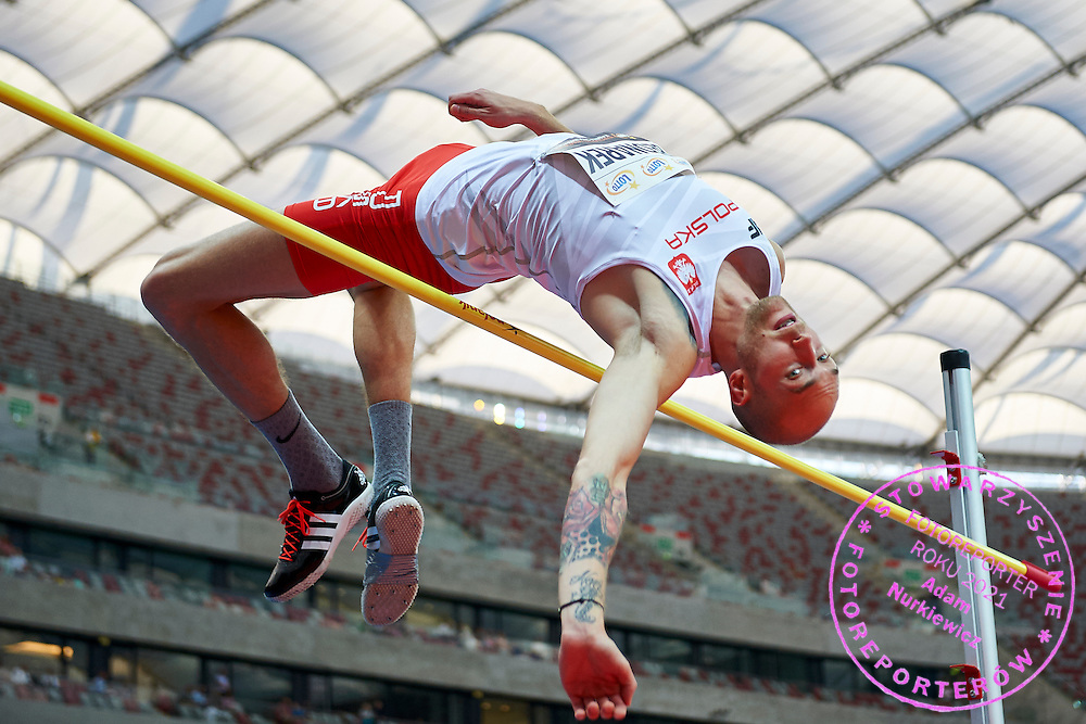 Warsaw, Poland - 2016 August 28: Sylwester Bednarek from Poland competes in men's high jump competition during athletics meeting Kamila Skolimowska Memorial 2016 at PGE National Stadium  August 28, 2016 w Warsaw, Poland.<br /> <br /> Adam Nurkiewicz declares that he has no rights to the image of people at the photographs of his authorship.<br /> <br /> Picture also available in RAW (NEF) or TIFF format on special request.<br /> <br /> Any editorial, commercial or promotional use requires written permission from the author of image.<br /> <br /> Mandatory credit:<br /> Photo by &copy; Adam Nurkiewicz