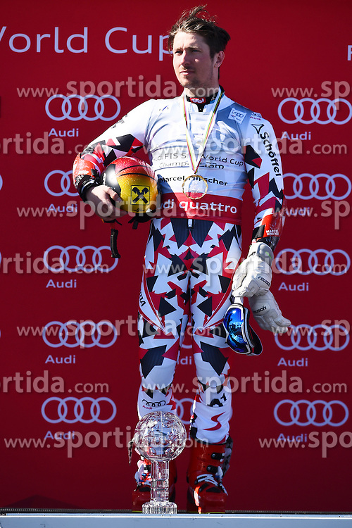 19.03.2016, Engiadina, St. Moritz, SUI, FIS Weltcup Ski Alpin, St. Moritz, Riesentorlauf, Herren, im Bild Marcel Hirscher (AUT) an der Siegerehrung fuer den Disziplinensieg Riesenslalom. // during men's Giant Slalom of St. Moritz Ski Alpine World Cup finals at the Engiadina in St. Moritz, Switzerland on 2016/03/19. EXPA Pictures &copy; 2016, PhotoCredit: EXPA/ Freshfocus/ Manuel Lopez<br /> <br /> *****ATTENTION - for AUT, SLO, CRO, SRB, BIH, MAZ only*****