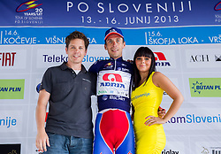 Jaka Lopatic and winner Radoslav Rogina (CRO) of Adria Mobil with blue jersey during flower ceremony after the Stage 3 from Skofja Loka to Vrsic (170 km) of cycling race 20th Tour de Slovenie 2013,  on June 15, 2013 in Slovenia. (Photo By Vid Ponikvar / Sportida)