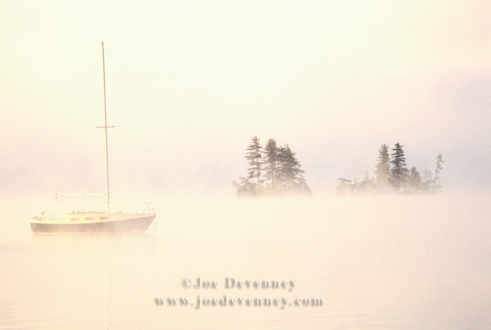 Sailboat in the fog