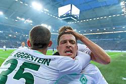 03.02.2018, Veltins Arena, Gelsenkirchen, GER, 1. FBL, Schalke 04 vs SV Werder Bremen, 21. Runde, im Bild Zlatko Junuzovic (SV Werder Bremen #16) beim Jubel nach seinem Treffer zum 2:1 für die Gäste, hier mit Maximilian Eggestein (SV Werder Bremen #35), links, und Ludwig Augustinsson (SV Werder Bremen #5), rechts // during the German Bundesliga 21th round match between Schalke 04 and SV Werder Bremen at the Veltins Arena in Gelsenkirchen, Germany on 2018/02/03. EXPA Pictures © 2018, PhotoCredit: EXPA/ Andreas Gumz<br /> <br /> *****ATTENTION - OUT of GER*****