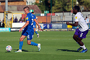 AFC Wimbledon attacker Marcus Forss (15) dribbling during the EFL Sky Bet League 1 match between AFC Wimbledon and Shrewsbury Town at the Cherry Red Records Stadium, Kingston, England on 14 September 2019.