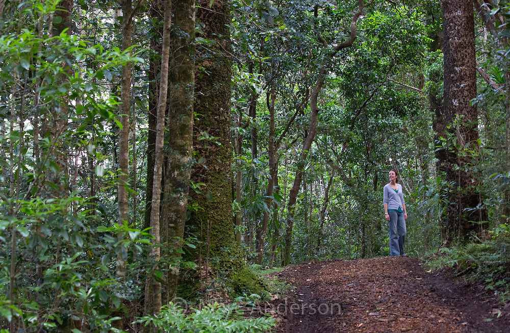Woman standing and smiling on a walking track, Norfolk Island National Park, Norfolk Island, Australia
