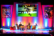 Julian Speroni and James Scowcroft discuss the early days of Julians Palace career duringThe gloves are off. An Evening With Julian Speroni at  at Fairfields Hall, Croydon, United Kingdom on 20 January 2015. Photo by Michael Hulf.