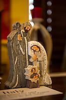 This hand carved nativity scene from Italy is one of Rev. John Eaton's 100 nativity scenes on display at the Meredith Bay Colony Club through Sunday.  (Karen Bobotas/for the Laconia Daily Sun)