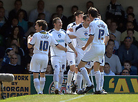 Photo: Ashley Pickering.<br /> Southend United v Colchester United. Coca Cola Championship. 06/04/2007.<br /> Jamie Cureton (no. 8) celebrates the opening goal for Colchester (0-1)
