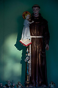 A figure of Saint Stephen and a child in a rural Slovenian village shrine, on 20th June 2018, in Bohinjska Bela, Bled, Slovenia.