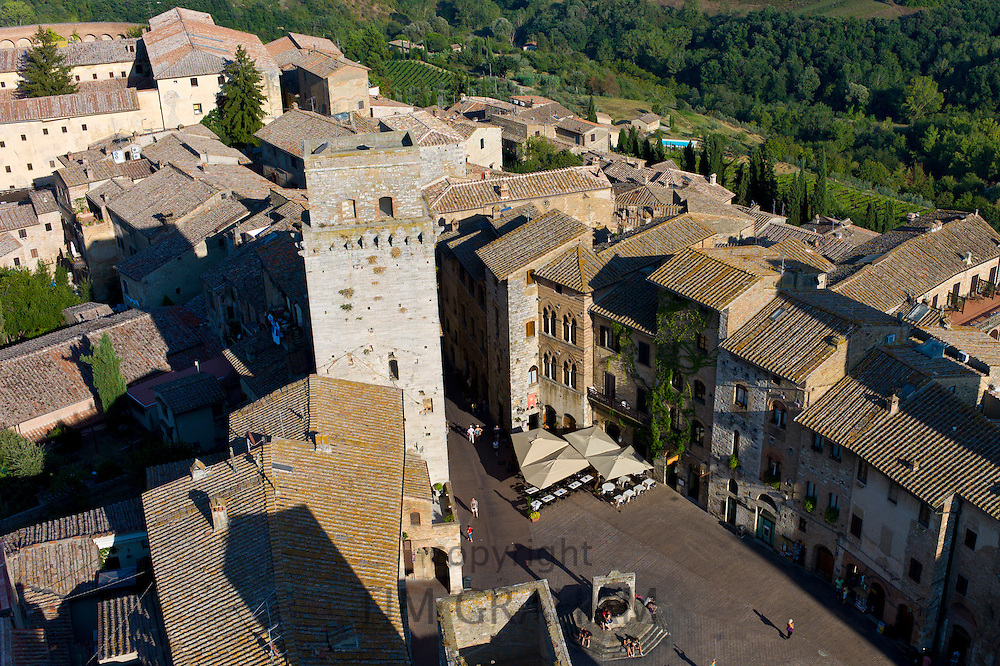 Aerial view of the quaint medieval town of San Gimignano in Tuscany, Italy