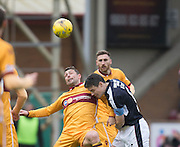 Motherwell's Scott McDonald and Dundee's Darren O'Dea - Motherwell v Dundee in the Ladbrokes Scottish Premiership at Fir Park, Motherwell.Photo: David Young<br /> <br />  - © David Young - www.davidyoungphoto.co.uk - email: davidyoungphoto@gmail.com