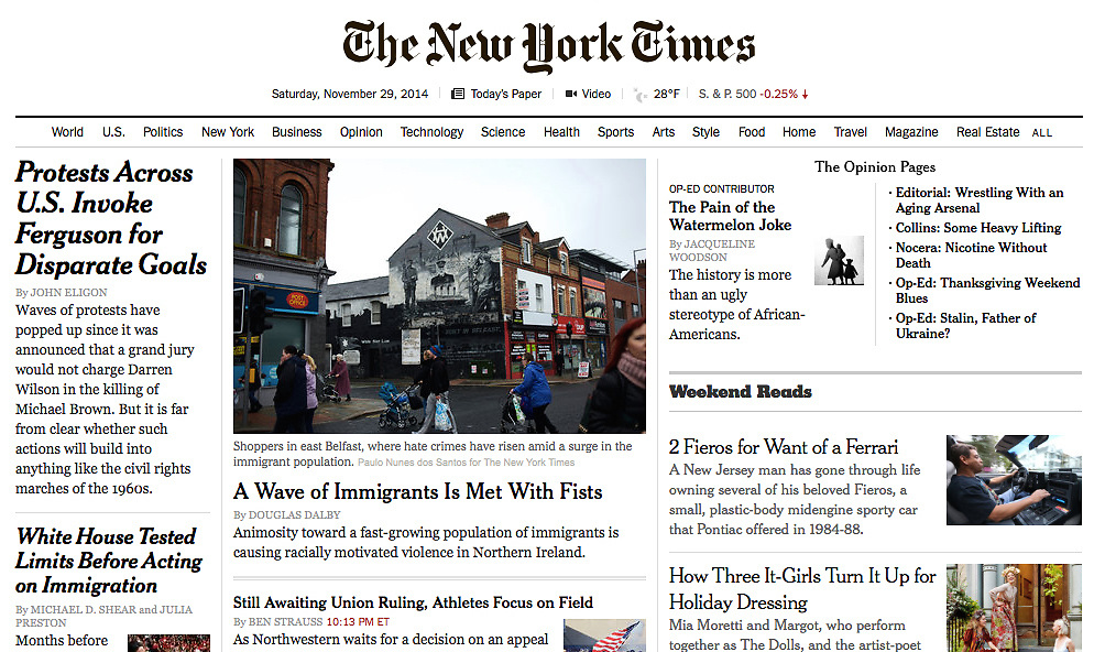 "Screengrab of ""In Northern Ireland, a wave of immigrants is met with fists"" published in The New York Times"