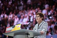07 DEC 2018, HAMBURG/GERMANY:<br /> Annegret Kramp-Karrenbauer, CDU Generalsekretaerin und Kandidatin fuer das Amt der Parteivorsitzenden der CDU, waehrend ihrer Bewerbungsrede, CDU Bundesparteitag, Messe Hamburg<br /> IMAGE: 20181207-01-110<br /> KEYWORDS: party congress