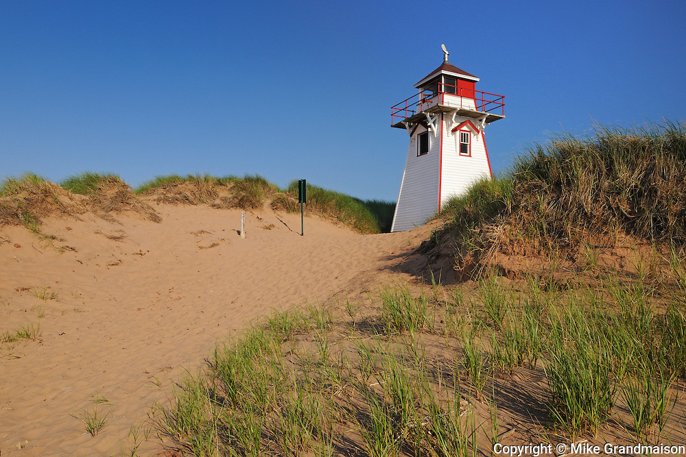 Lighthouse on sand dunes at Cape Stanhope. Covehead Harbour<br />