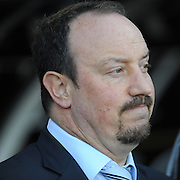 Rafa Benitez (Liverpool Manager)looks pensive during the game against Fulham. Fulham v Liverpool, Barclays Premier League,  Craven Cottage,  London. 4th April 2009.