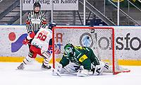 2019-10-15 | Umeå, Sweden: Västervik (88) Ken Jäger scores 4-5 and Västerviks IK takes 2 points in HockeyAllsvenskan during the game  between Björklöven and Västervik at A3 Arena ( Photo by: Michael Lundström | Swe Press Photo )<br /> <br /> Keywords: Umeå, Hockey, HockeyAllsvenskan, A3 Arena, Björklöven, Västervik, mlbv191015