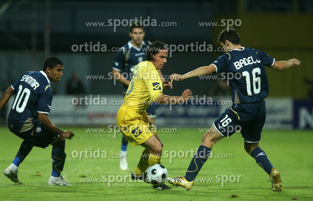 Danijel Brezic  (76) of Domzale and Milan Badelj of Dinamo at 1st football game of 2nd Qualifying Round for UEFA Champions league between NK Domzale vs HNK Dinamo Zagreb, on July 30, 2008, in Domzale, Slovenia. Dinamo won 3:0. (Photo by Vid Ponikvar / Sportal Images)