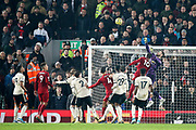 Manchester United goalkeeper David De Gea (1) punches clear during the Premier League match between Liverpool and Manchester United at Anfield, Liverpool, England on 19 January 2020.