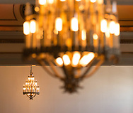 Chandeliers in the Great Hall in Memorial Union in 2013, prior to renovations to the building.