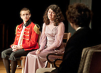 Colonel Fitzwilliam (Brandon Brown), Elizabeth Bennet (Brooke Baerman) and Mr. Darcy (Josh Curtis) practice a scene from the production of Pride and Prejudice during dress rehearsal Tuesday evening at Laconia High School.  (Karen Bobotas/for the Laconia Daily Sun)