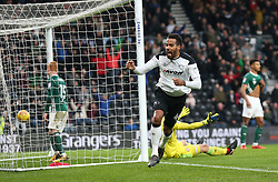 Derby County's Tom Huddlestone celebrates scoring against Brentford during the Sky Bet Championship match at Pride Park