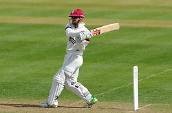 Somerset's Johann Myburgh pulls the ball off the bowling of Durham's John Hastings- Photo mandatory by-line: Harry Trump/JMP - Mobile: 07966 386802 - 12/04/15 - SPORT - CRICKET - LVCC County Championship - Day 1 - Somerset v Durham - The County Ground, Taunton, England.