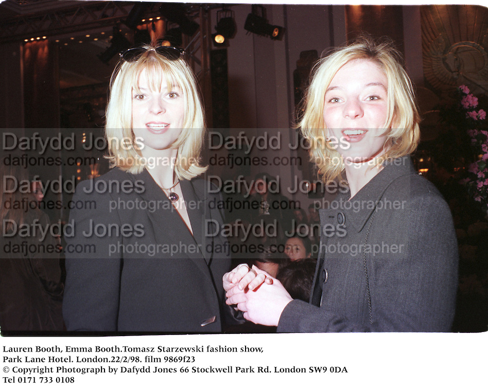 Lauren Booth, Emma Booth.Tomasz Starzewski, Park Lane Hotel. London.22/2/98. film 9869f23<br />© Copyright Photograph by Dafydd Jones<br />66 Stockwell Park Rd. London SW9 0DA<br />Tel 0171 733 0108