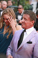 Sylvester Stallone and Ronda Rousey at the The Expendables 3 red carpet at the 67th Cannes Film Festival France. Sunday 18th May 2014 in Cannes Film Festival, France.