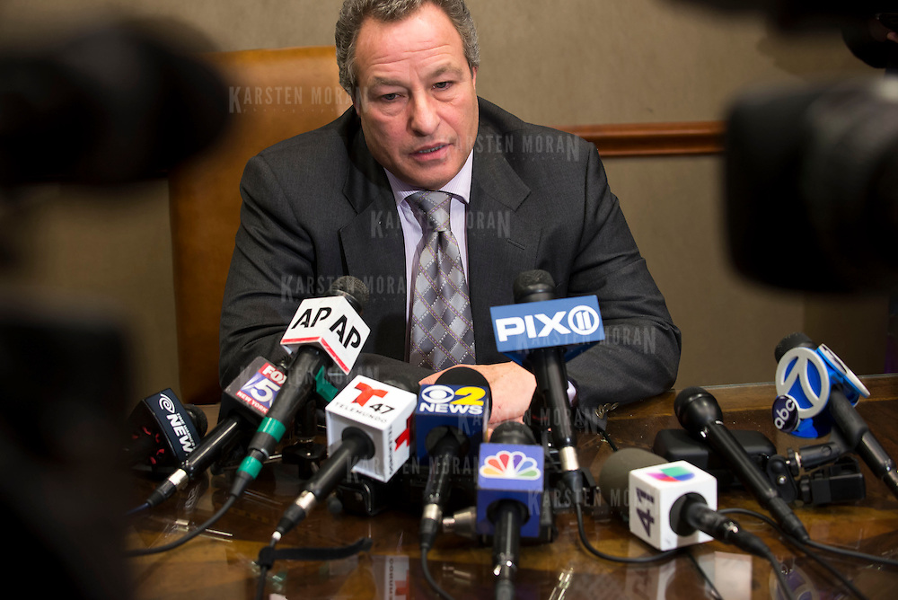 January 21, 2014 - New York, NY : <br /> David H. Perecman, attorney for the family of Avonte Oquendo, held a press conference at his office at 250 West 57th Street in Manhattan on Tuesday afternoon to announce that the remains <br /> discovered along the East River in Queens last week were matched to the missing autistic teenager. Pictured here, Mr. Perecman addresses reporters (not visible).<br /> CREDIT: Karsten Moran for The New York Times