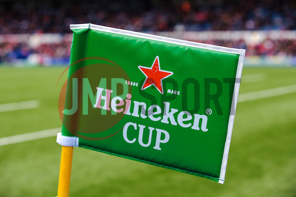 A Heineken Cup corner flag during the first half of the match - Photo mandatory by-line: Rogan Thomson/JMP - Tel: 07966 386802 - 19/10/2013 - SPORT - RUGBY UNION - Cardiff Arms Park, Wales - Cardiff Blues v Toulon - Heineken Cup Round 2.