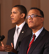 President Barack Obama makes a statement about the U.S, auto manufacturing industry and names a new car tszar.  The statement was made in the Grand Foyer of the White House on March 30, 2009.  (left to right: President Obama, Edward Montgomery,newly appointed Director of Recovery for Auto Communities and Workers)  Photograph by Dennis Brack