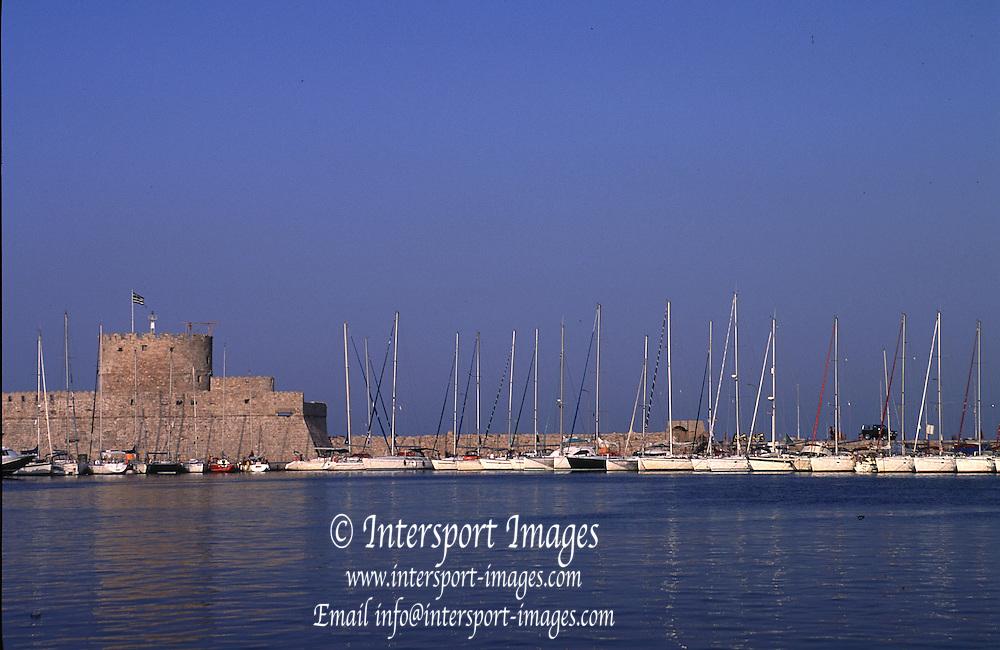 Rhodes Rhodes  Island. GREECE.<br /> General Views inside the Marina complex at Dusk. <br /> 2001 Sunset Rhodes Harbour   [Mandatory Credit; Peter SPURRIER/Intersport Images]