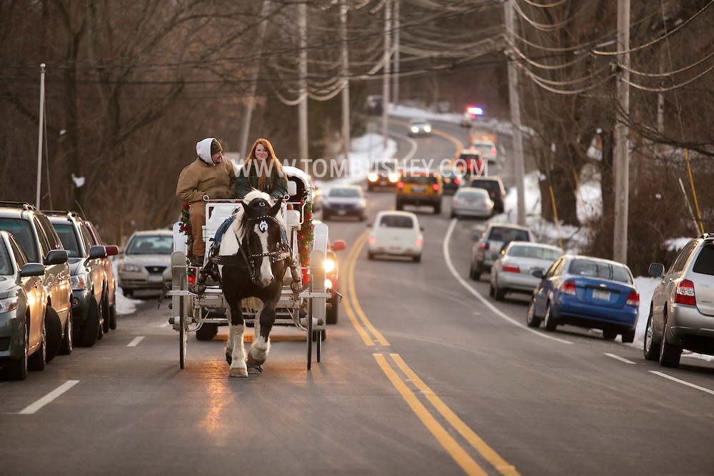 Sugar Loaf, N.Y. -  A woman drives a horse drawn carriage down the street during a holiday celebration on Dec. 12, 2009.