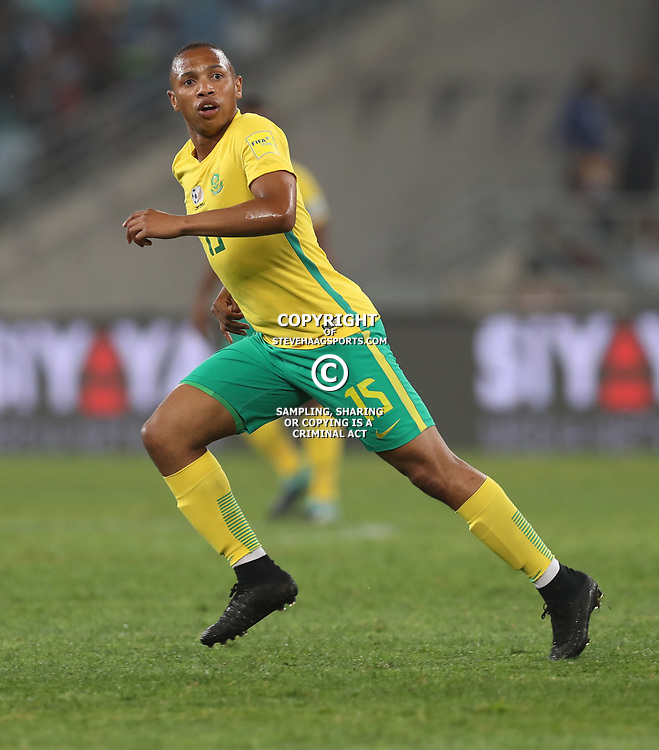 Andile Jali of South Africa (Bafana Bafana) during the 2018 Football World Cup qualifier  match between South Africa (Bafana Bafana)  and Cape Verde Islands,at the Moses Mabhida Stadium in Durban South Africa Tuesday, September 5,2017.  (Photo by Steve Haag)