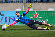 Forest Green Rovers goalkeeper Sam Russell(23) warming up during the EFL Sky Bet League 2 match between Wycombe Wanderers and Forest Green Rovers at Adams Park, High Wycombe, England on 2 September 2017. Photo by Shane Healey.