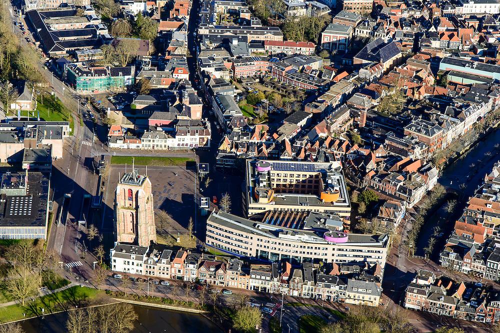 Nederland, Friesland, Leeuwarden, 28-02-2016; westelijk deel van de binnenstad met Oldehove en Stadskantoor Gemeente Leeuwarden.<br /> City centre Leeuwarden.<br /> <br /> luchtfoto (toeslag op standard tarieven);<br /> aerial photo (additional fee required);<br /> copyright foto/photo Siebe Swart