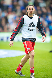 BIRMINGHAM, ENGLAND - Sunday, April 4, 2010: Liverpool's Sotirios Kyrgiakos warms-up before the Premiership match against Birmingham City at St Andrews. (Photo by David Rawcliffe/Propaganda)