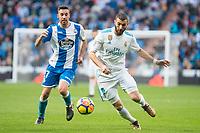 Real Madrid Karim Benzema and R.C. Deportivo Lucas Perez during La Liga match between Real Madrid and R. C. Deportivo at Santiago Bernabeu Stadium in Madrid, Spain. January 18, 2018. (ALTERPHOTOS/Borja B.Hojas)