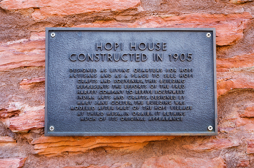 Hopi House historic landmark plaque, Grand Canyon National Park, Arizona USA
