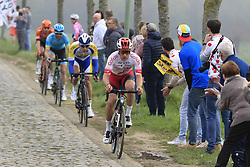 The breakaway group featuring Damien Touzé (FRA) Cofidis, Kenneth van Rooy (BEL) Sport Vlaanderen-Baloise, Hugo Houle (CAN) Astana and Jesper Asselman (NED) Roompot-Charles on the Padderstraat during the 2019 Ronde Van Vlaanderen 270km from Antwerp to Oudenaarde, Belgium. 7th April 2019.<br /> Picture: Eoin Clarke | Cyclefile<br /> <br /> All photos usage must carry mandatory copyright credit (© Cyclefile | Eoin Clarke)