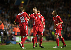 BIRMINGHAM, ENGLAND - Monday, October 13, 2008: Wales' Simon Church celebrates scoring the second goal against England with team-mate Aaron Ramsey during the UEFA European Under-21 Championship Play-Off 2nd Leg match at Villa Park. (Photo by Gareth Davies/Propaganda)