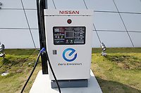 Charging point for the Nissan EV-11 Electric car at the company Grand Drive circuit in Yokohama near Tokyo, Japan.